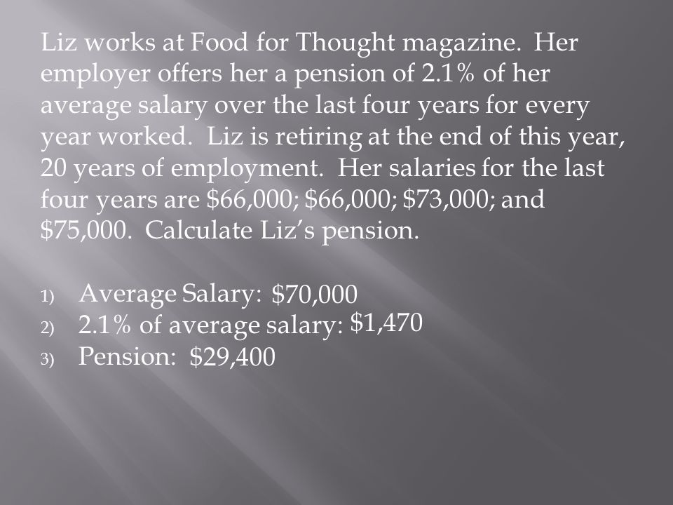 Liz works at Food for Thought magazine. Her employer offers her a pension of 2.1% of her average salary over the last four years for every year worked