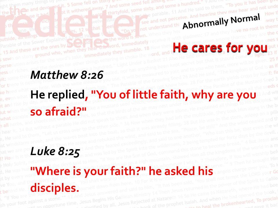 He cares for you Matthew 8:26 He replied,