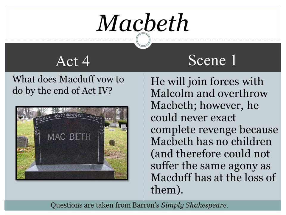 Act 4 Scene 3 He is dumbfounded and shocked. I have to be courageous and own up to what I have done. They were killed not for their misdeeds but for m