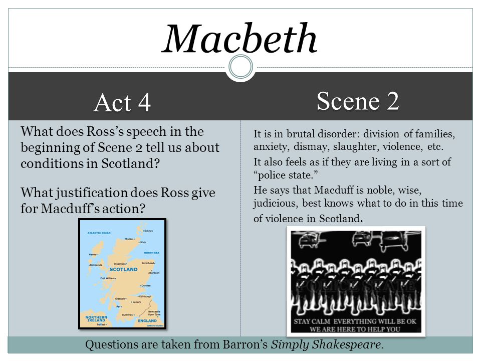 Act 4 Scene 1 He wants no chance that any of the offspring (or future offspring) survives to be able to take over the throne. Macbeth Why does Macbeth