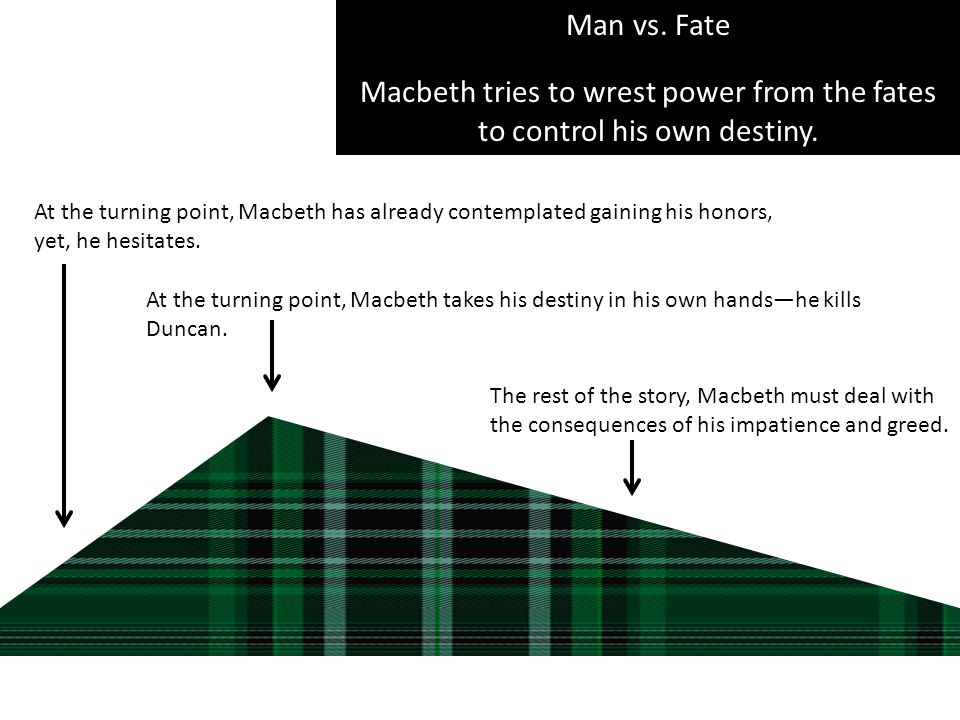 Man vs. Fate Macbeth tries to wrest power from the fates to control his own destiny. At the turning point, Macbeth has already contemplated gaining hi