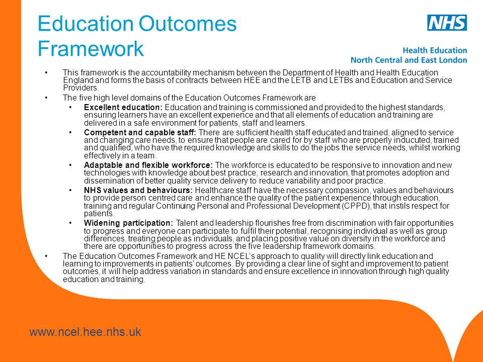 www.hee.nhs.uk www.ncel.hee.nhs.uk The first step towards a locally-led approach to improving healthcare through education and training is to develop a comprehensive understanding of NCEL's communities, and their particular challenges and opportunities.