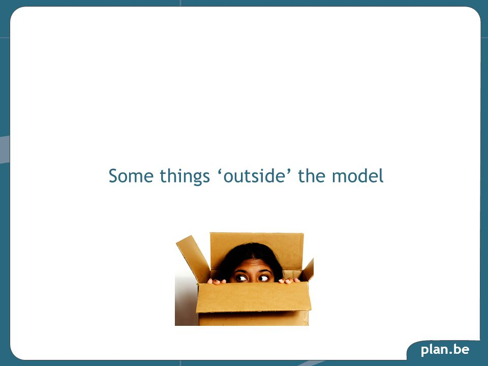 plan.be Some things 'outside' the model