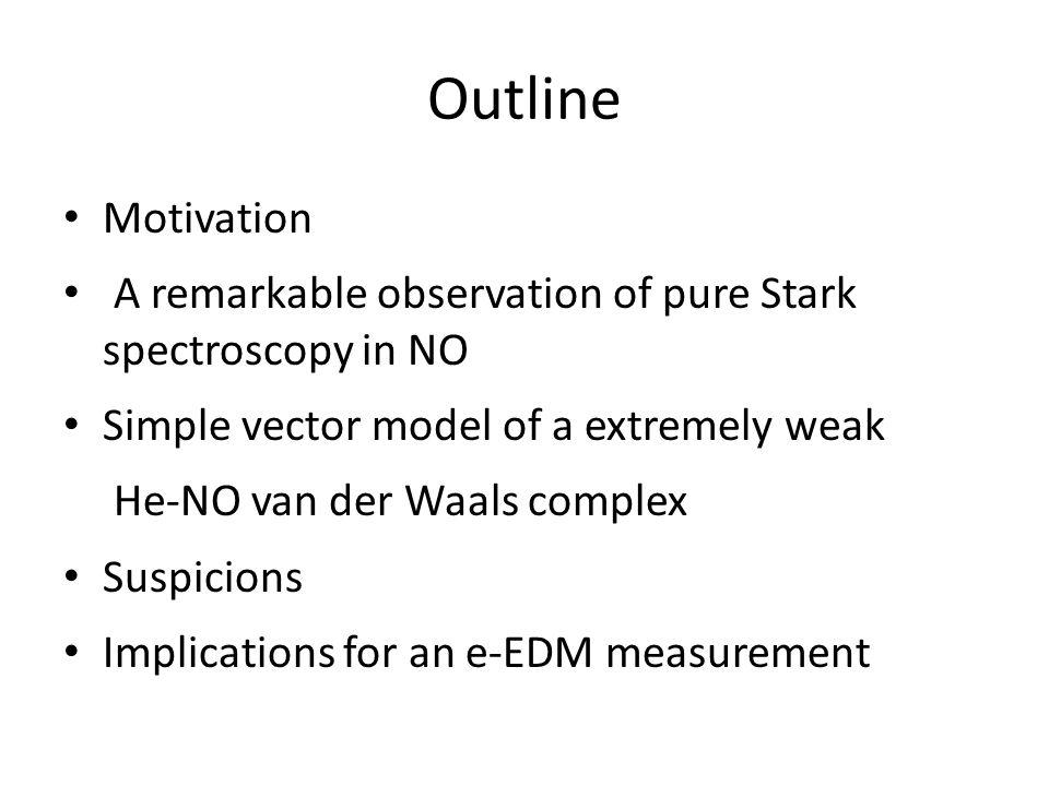 Outline Motivation A remarkable observation of pure Stark spectroscopy in NO Simple vector model of a extremely weak He-NO van der Waals complex Suspicions Implications for an e-EDM measurement