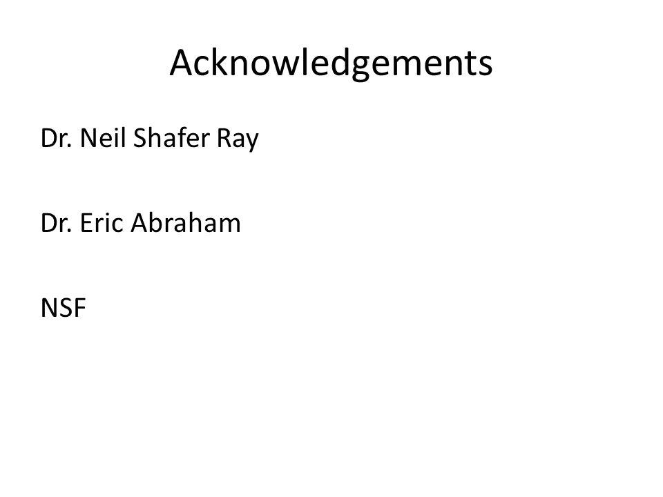 Acknowledgements Dr. Neil Shafer Ray Dr. Eric Abraham NSF