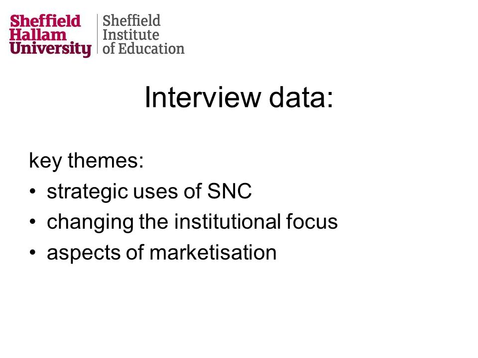 Interview data: key themes: strategic uses of SNC changing the institutional focus aspects of marketisation
