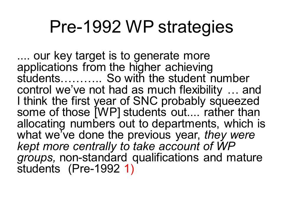 Pre-1992 WP strategies....