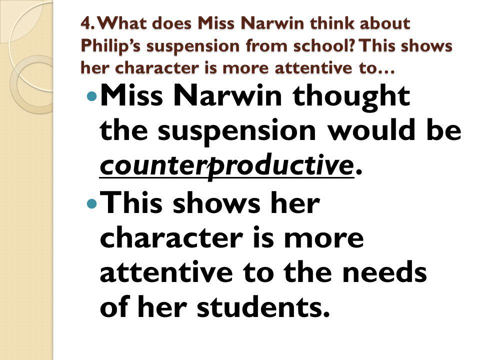 5.What do you think Miss Narwin wanted to discuss with Dr.
