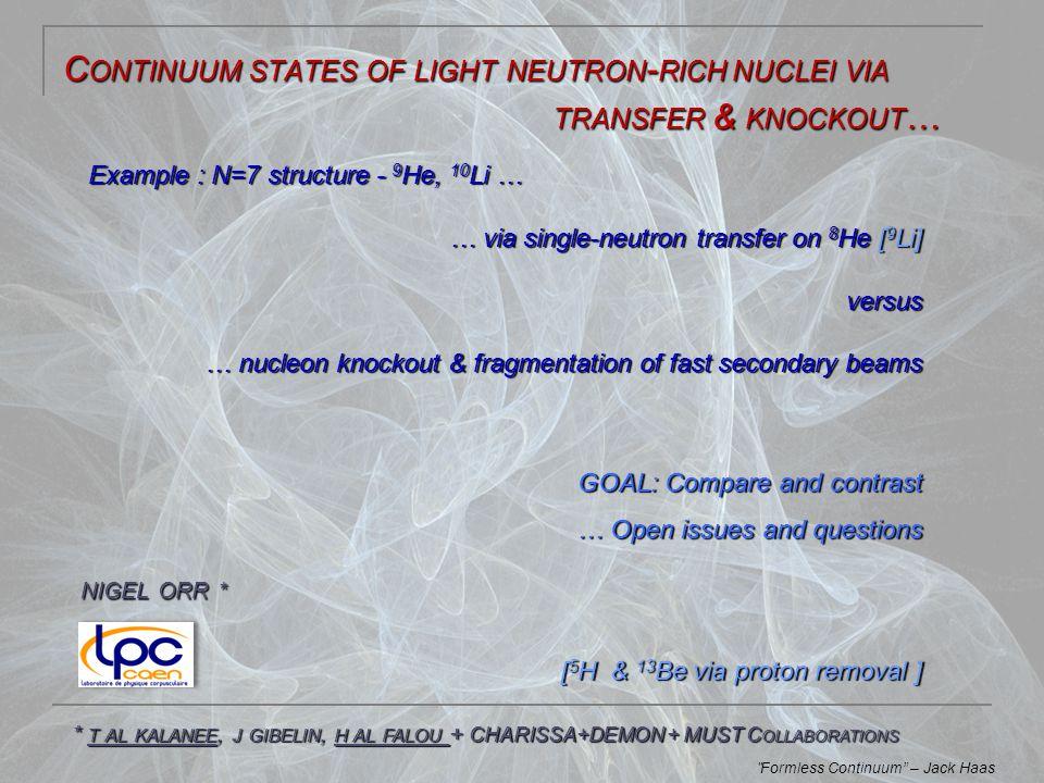 K NOCKOUT & B REAKUP … … nucleon removal via knockout or breakup of projectile (   0.3) with known structure + in-flight decay  fragment – n FSI VfVf VnVn V f - V n target Proj.