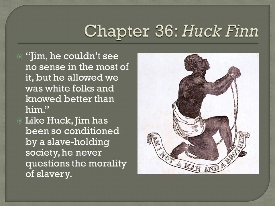  Jim, he couldn't see no sense in the most of it, but he allowed we was white folks and knowed better than him.  Like Huck, Jim has been so conditioned by a slave-holding society, he never questions the morality of slavery.