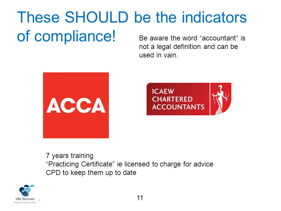 11 These SHOULD be the indicators of compliance.