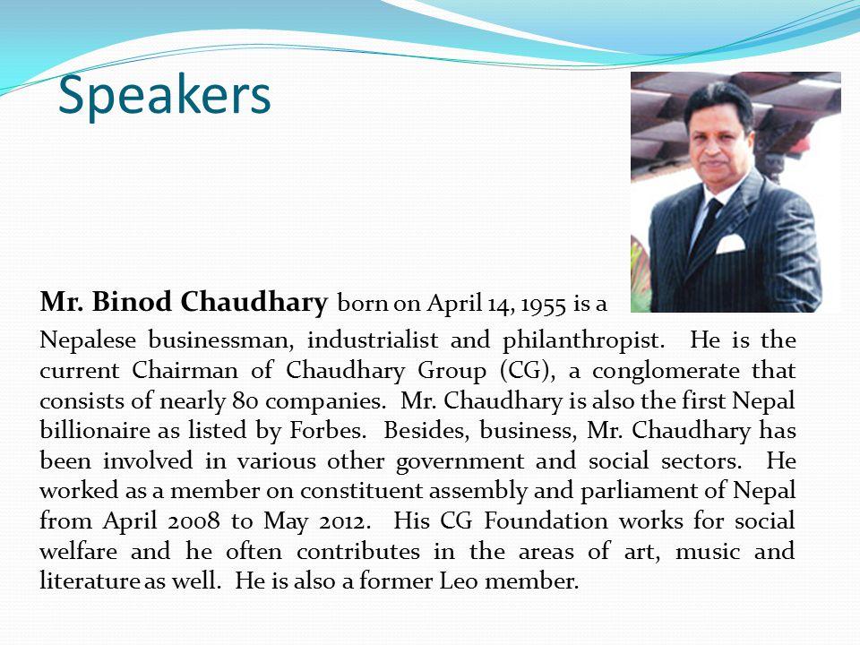Speakers Mr.