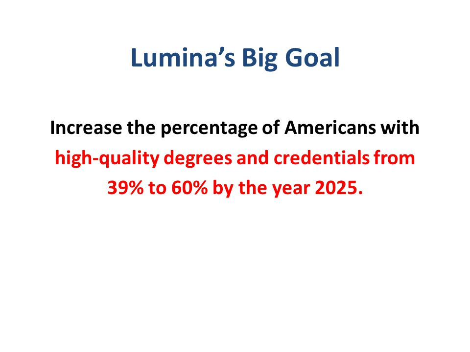 Lumina's Big Goal Increase the percentage of Americans with high-quality degrees and credentials from 39% to 60% by the year 2025.