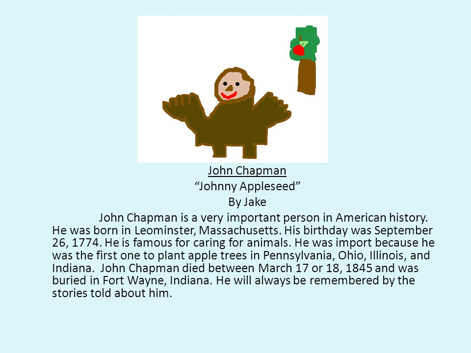 John Chapman Johnny Appleseed By Jake John Chapman is a very important person in American history.