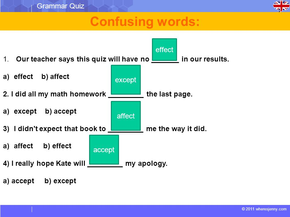 © 2011 wheresjenny.com Grammar Quiz Confusing words: 1. Our teacher says this quiz will have no _______ in our results. a)effect b) affect 2. I did al