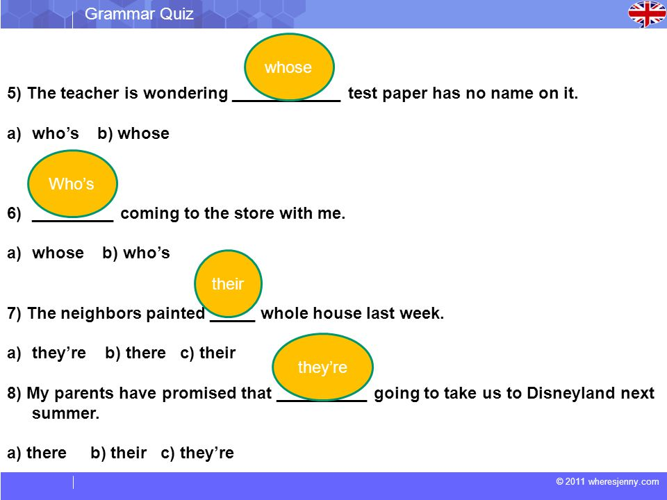 © 2011 wheresjenny.com Grammar Quiz 5) The teacher is wondering ____________ test paper has no name on it. a)who's b) whose 6)_________ coming to the