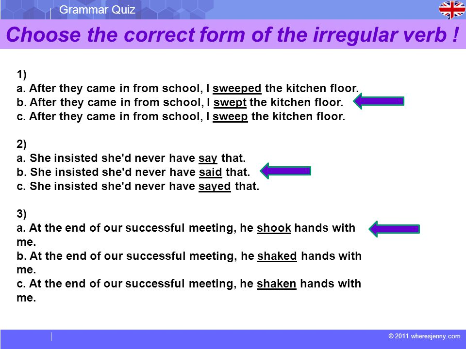 © 2011 wheresjenny.com Grammar Quiz Choose the correct form of the irregular verb ! 1) a. After they came in from school, I sweeped the kitchen floor.