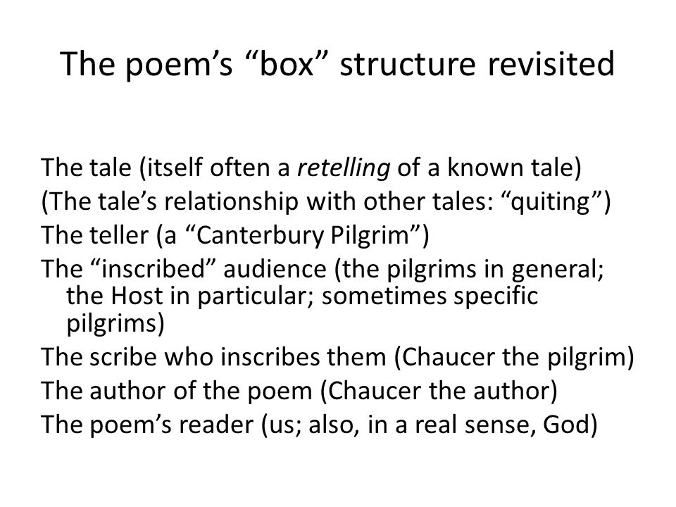 The poem's box structure revisited The tale (itself often a retelling of a known tale) (The tale's relationship with other tales: quiting ) The teller (a Canterbury Pilgrim ) The inscribed audience (the pilgrims in general; the Host in particular; sometimes specific pilgrims) The scribe who inscribes them (Chaucer the pilgrim) The author of the poem (Chaucer the author) The poem's reader (us; also, in a real sense, God)