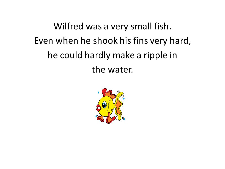 Wilfred was a very small fish. Even when he shook his fins very hard, he could hardly make a ripple in the water.