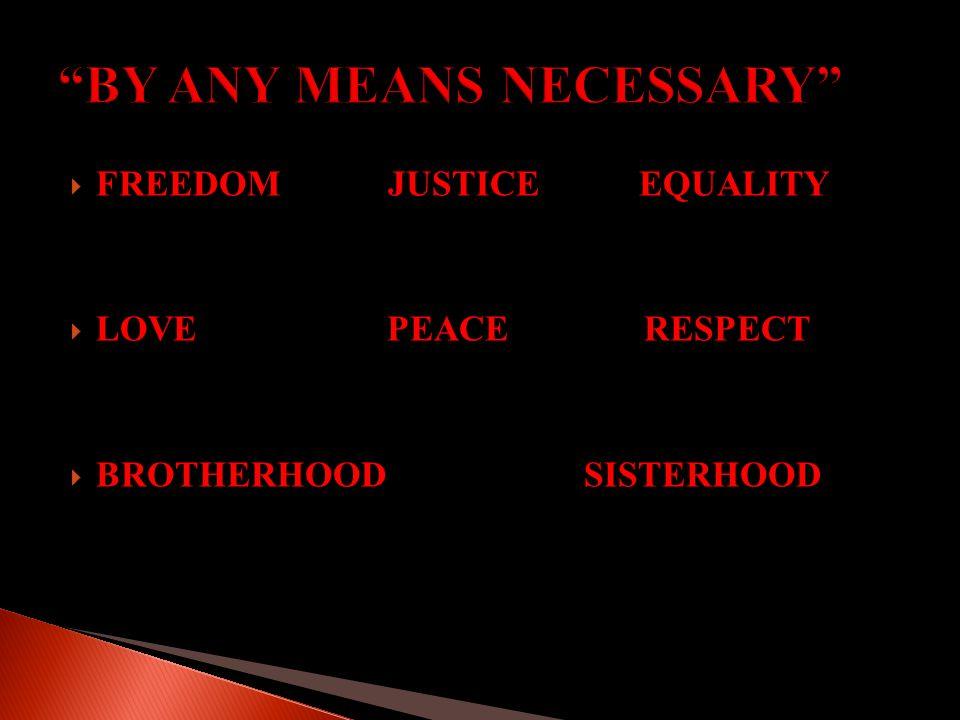  FREEDOM JUSTICE EQUALITY  LOVE PEACE RESPECT  BROTHERHOOD SISTERHOOD