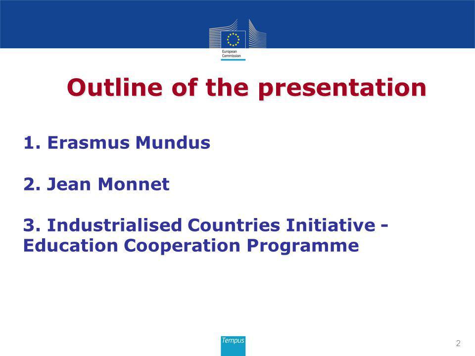 1. Erasmus Mundus 2. Jean Monnet 3.
