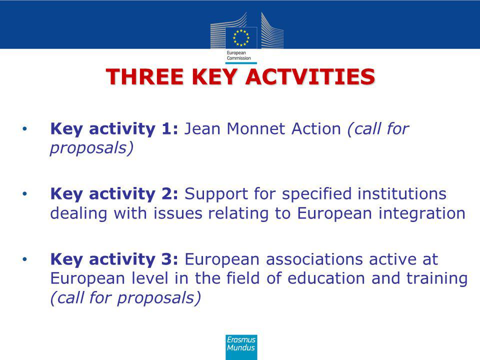 THREE KEY ACTVITIES Key activity 1: Jean Monnet Action (call for proposals) Key activity 2: Support for specified institutions dealing with issues relating to European integration Key activity 3: European associations active at European level in the field of education and training (call for proposals)