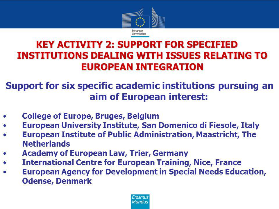 KEY ACTIVITY 2: SUPPORT FOR SPECIFIED INSTITUTIONS DEALING WITH ISSUES RELATING TO EUROPEAN INTEGRATION Support for six specific academic institutions pursuing an aim of European interest: College of Europe, Bruges, Belgium European University Institute, San Domenico di Fiesole, Italy European Institute of Public Administration, Maastricht, The Netherlands Academy of European Law, Trier, Germany International Centre for European Training, Nice, France European Agency for Development in Special Needs Education, Odense, Denmark