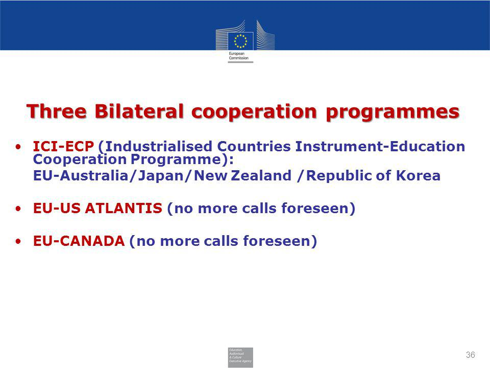 36 Three Bilateral cooperation programmes ICI-ECP (Industrialised Countries Instrument-Education Cooperation Programme): EU-Australia/Japan/New Zealand /Republic of Korea EU-US ATLANTIS (no more calls foreseen) EU-CANADA (no more calls foreseen)