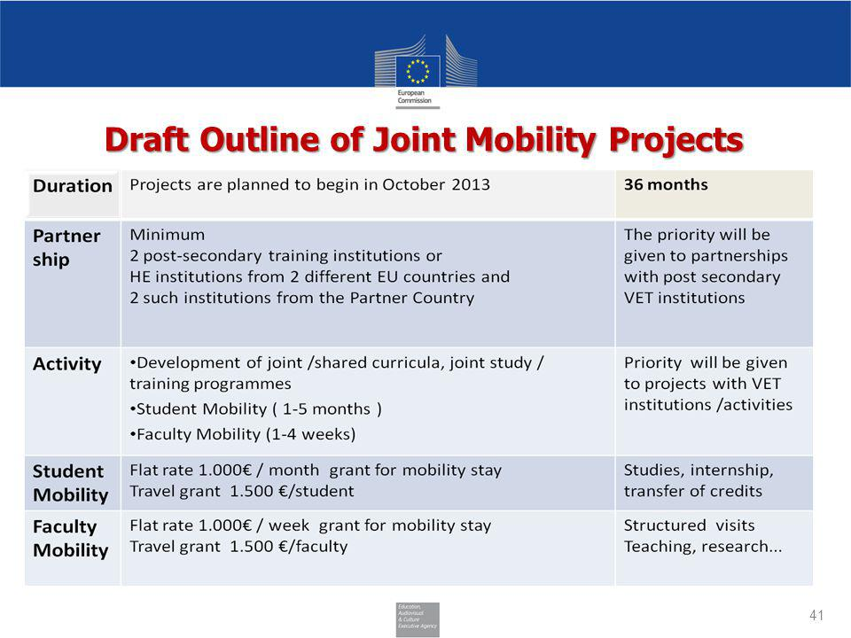 Draft Outline of Joint Mobility Projects 41