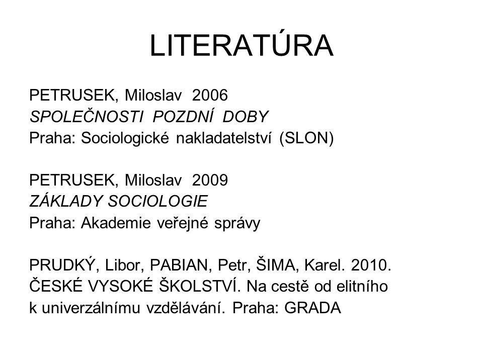 LITERATÚRA PETRUSEK, Miloslav 2006 SPOLEČNOSTI POZDNÍ DOBY Praha: Sociologické nakladatelství (SLON) PETRUSEK, Miloslav 2009 ZÁKLADY SOCIOLOGIE Praha:
