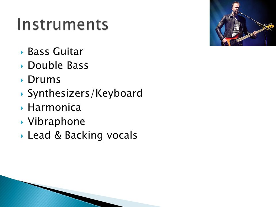  Bass Guitar  Double Bass  Drums  Synthesizers/Keyboard  Harmonica  Vibraphone  Lead & Backing vocals