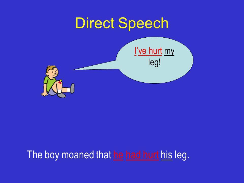 Direct Speech I've hurt my leg! The boy moaned that he had hurt his leg.