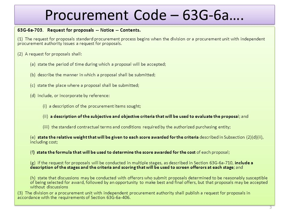 Procurement Code 63G-6a cost benefit analysis cont… (3) If the informal cost-benefit analysis described in Subsection (1) does not justify award of the contract to the offeror, described in Subsection (2), that received the next highest score, the issuing procurement unit: (a) may not award the contract to the offeror that received the next highest score; and (b) shall continue with the process described in Subsection (2) for each offeror that received the next highest score, until the issuing procurement unit: (i) awards the contract in accordance with the provisions of this section; or (ii) cancels the request for proposals.