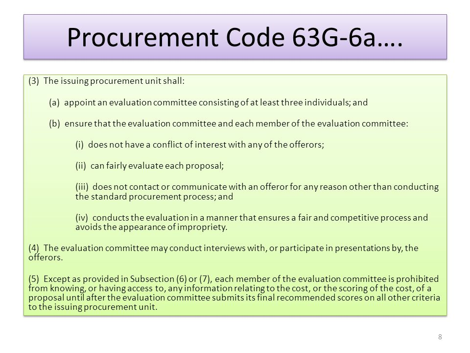 The Procurement File The procurement file is to contain the following: 1.Copy of RFP 2.Proposal Responses 3.Technical Evaluation Scores Compilation 4.Cost Evaluation 5.Final Compilation of all scores (published copy has unsuccessful offeror names redacted) 6.Written finding for all disqualified firms 7.Copy of disqualification notice sent to firms 8.Cost Benefit Analysis (if required) 9.Award Recommendation and Justification Statement 10.Other correspondence specific to the procurement The procurement file is to contain the following: 1.Copy of RFP 2.Proposal Responses 3.Technical Evaluation Scores Compilation 4.Cost Evaluation 5.Final Compilation of all scores (published copy has unsuccessful offeror names redacted) 6.Written finding for all disqualified firms 7.Copy of disqualification notice sent to firms 8.Cost Benefit Analysis (if required) 9.Award Recommendation and Justification Statement 10.Other correspondence specific to the procurement 29
