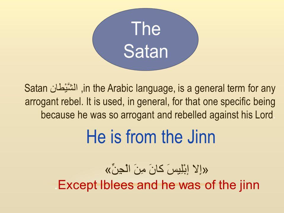«إِلا إبْلِيسَ كانَ مِنَ الْجِنِّ».Except Iblees and he was of the jinn Satan الشَّيْطان,in the Arabic language, is a general term for any arrogant re