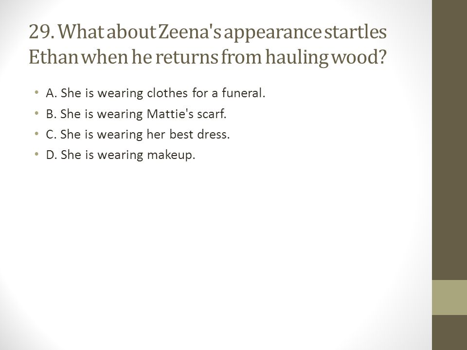 29.What about Zeena s appearance startles Ethan when he returns from hauling wood.