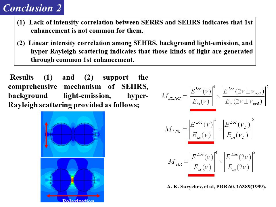 (1) Lack of intensity correlation between SERRS and SEHRS indicates that 1st enhancement is not common for them.