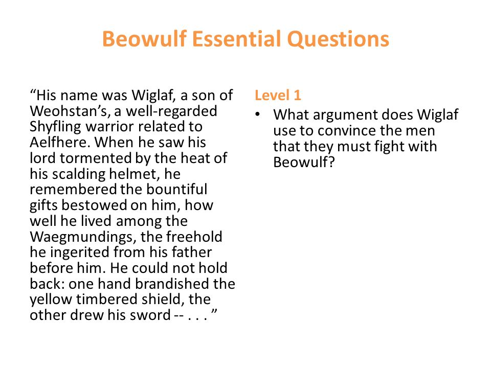 """Beowulf Essential Questions """"His name was Wiglaf, a son of Weohstan's, a well-regarded Shyfling warrior related to Aelfhere. When he saw his lord torm"""