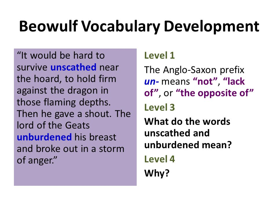 """Beowulf Vocabulary Development """"It would be hard to survive unscathed near the hoard, to hold firm against the dragon in those flaming depths. Then he"""