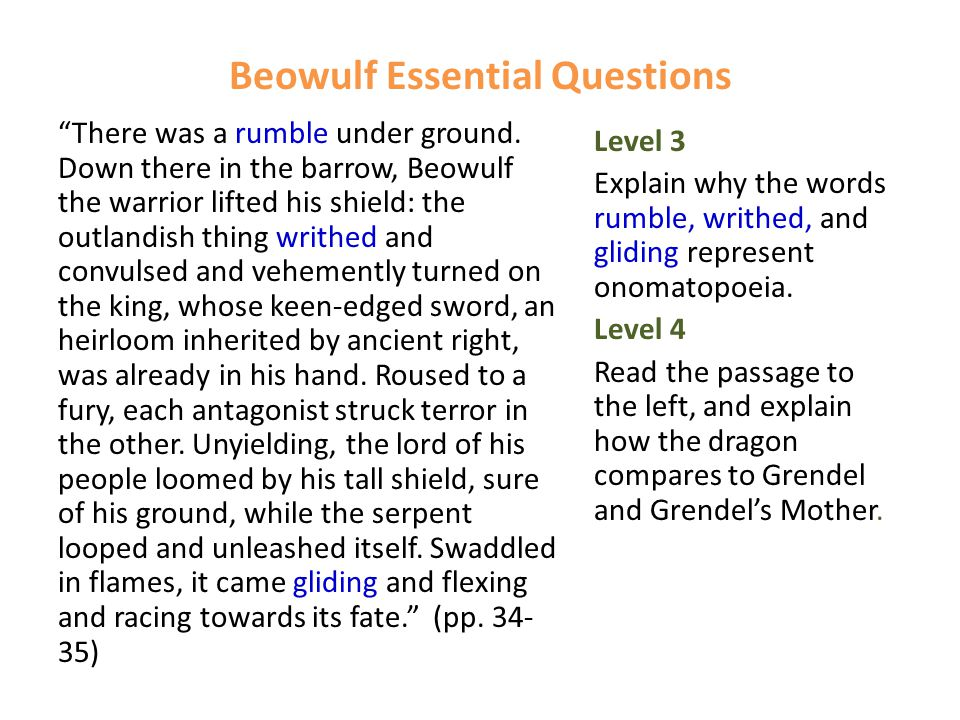 """Beowulf Essential Questions """"There was a rumble under ground. Down there in the barrow, Beowulf the warrior lifted his shield: the outlandish thing wr"""