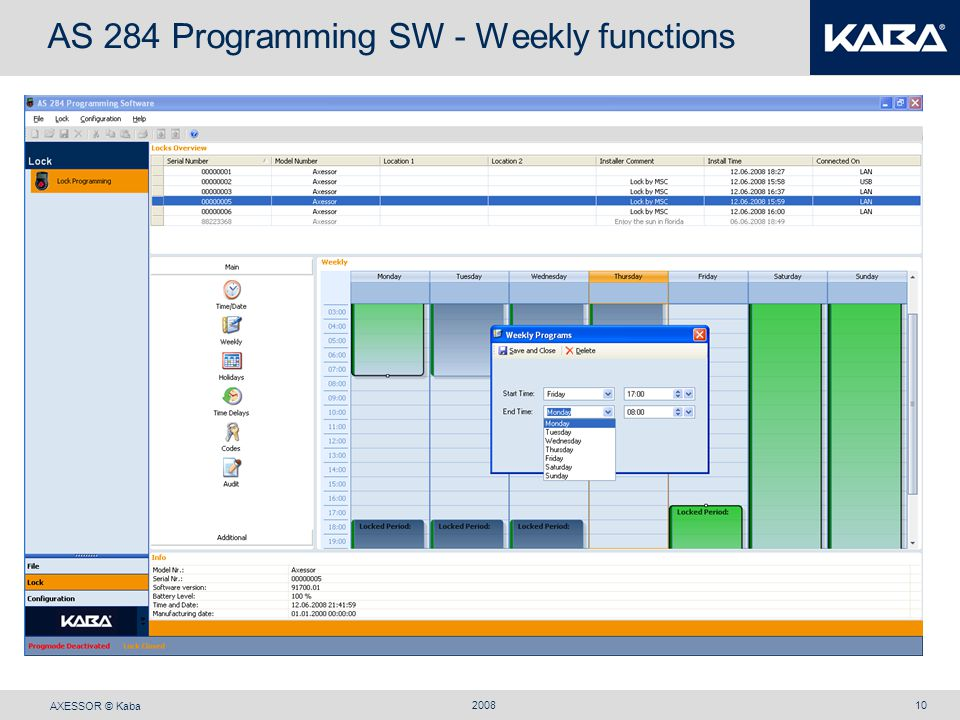 AXESSOR © Kaba 200810 AS 284 Programming SW - Weekly functions