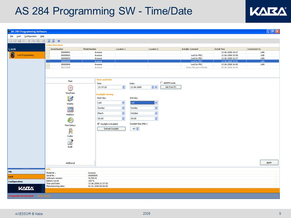 AXESSOR © Kaba 20089 AS 284 Programming SW - Time/Date