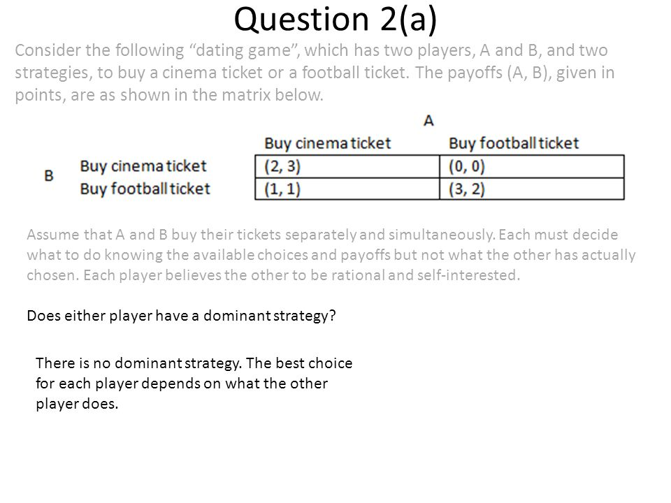 Question 2(a) Consider the following dating game , which has two players, A and B, and two strategies, to buy a cinema ticket or a football ticket.