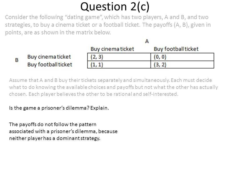 Question 2(c) Consider the following dating game , which has two players, A and B, and two strategies, to buy a cinema ticket or a football ticket.