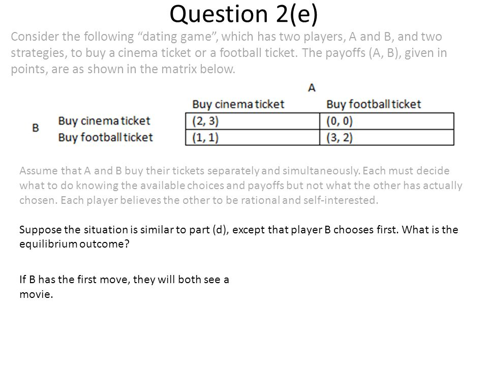 Question 2(e) Consider the following dating game , which has two players, A and B, and two strategies, to buy a cinema ticket or a football ticket.