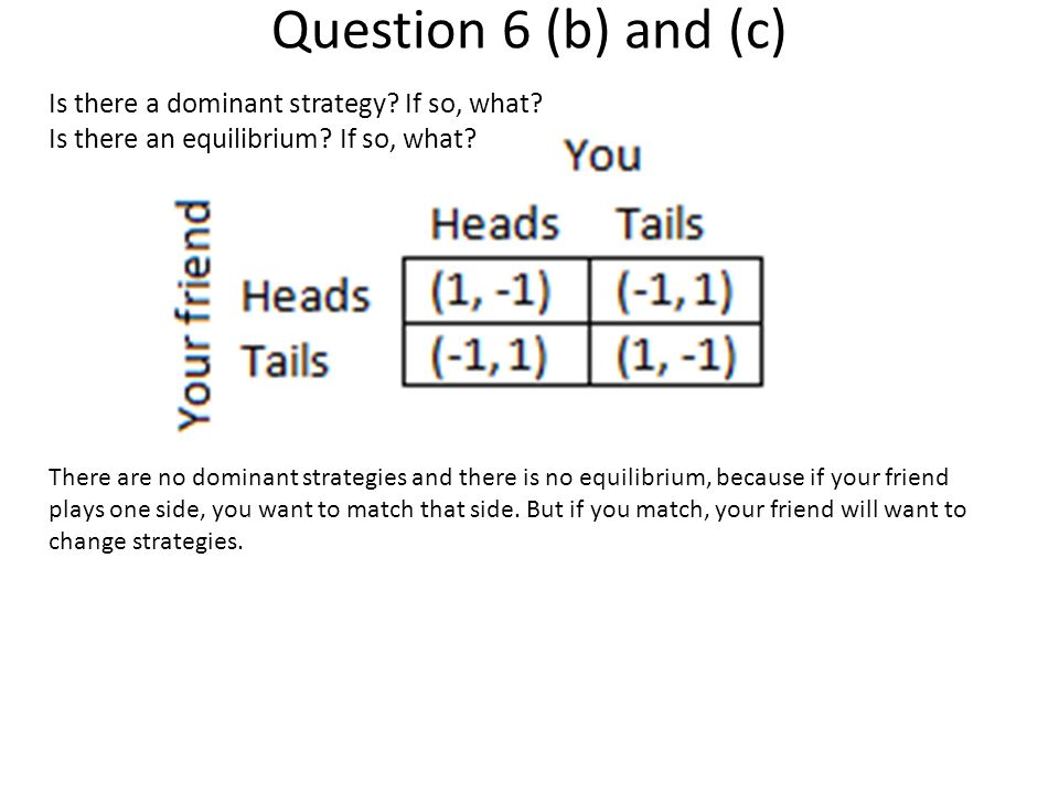 Question 6 (b) and (c) Is there a dominant strategy.