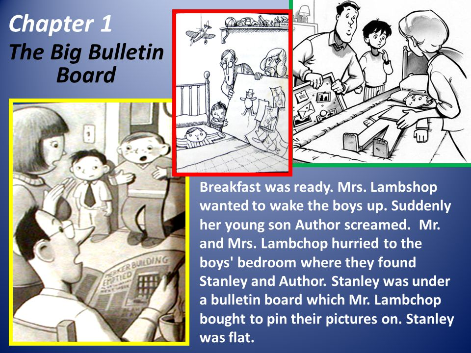 Chapter 1 The Big Bulletin Board Breakfast was ready. Mrs. Lambshop wanted to wake the boys up. Suddenly her young son Author screamed. Mr. and Mrs. L