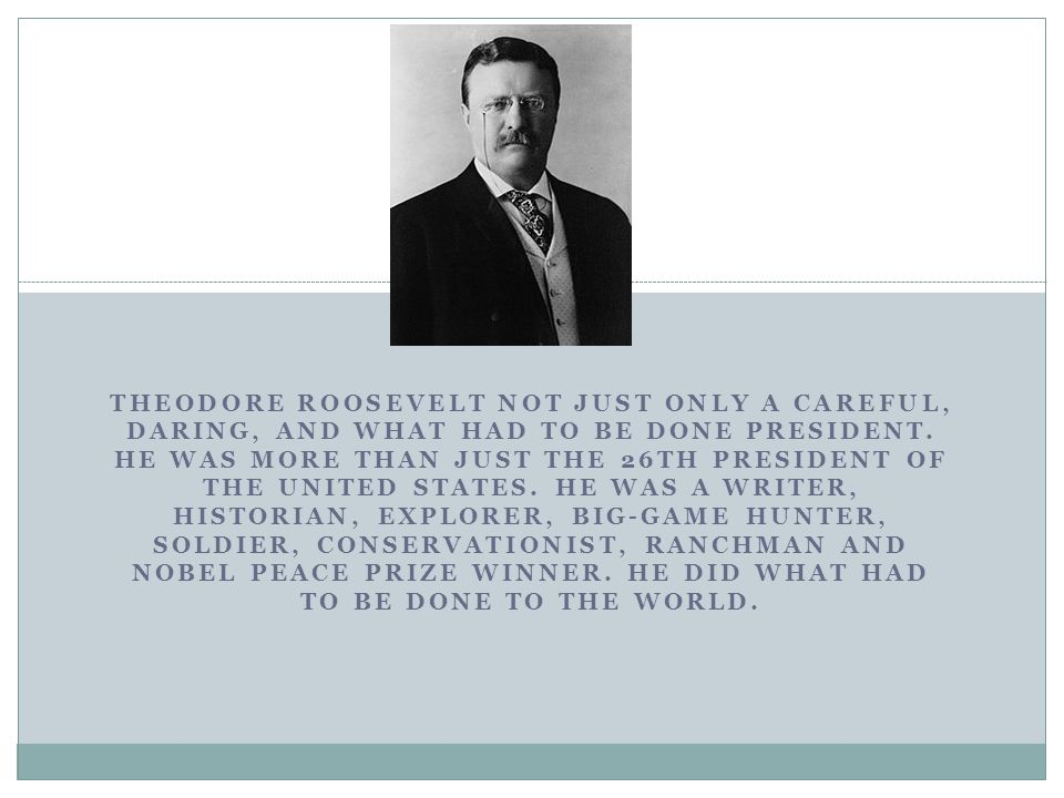 THEODORE ROOSEVELT NOT JUST ONLY A CAREFUL, DARING, AND WHAT HAD TO BE DONE PRESIDENT.