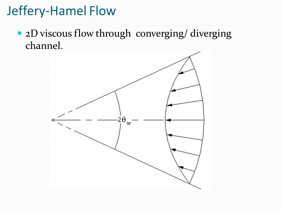 Jeffery-Hamel Flow 2D viscous flow through converging/ diverging channel.