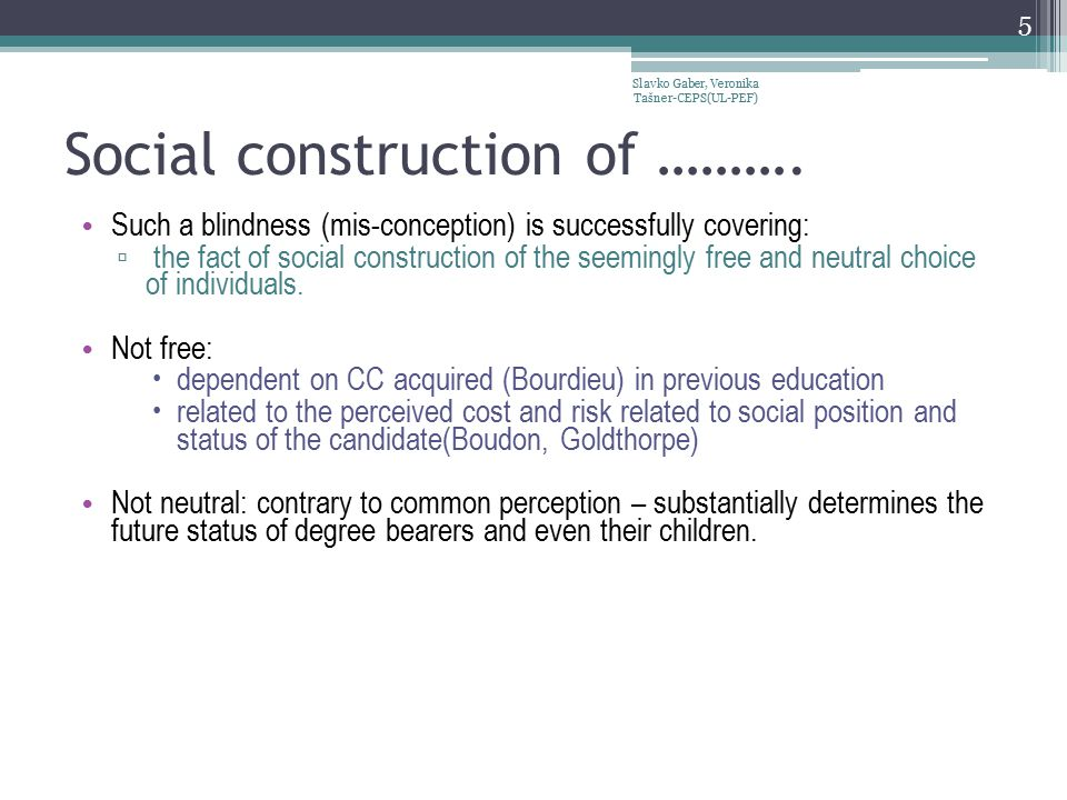 Social construction of ……….